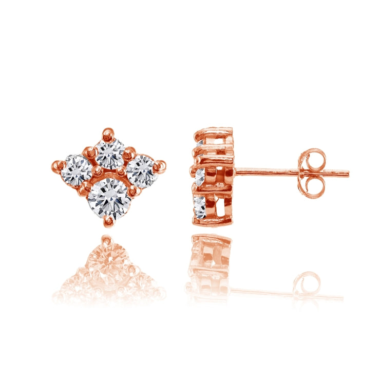 Rose Gold Flashed Sterling Silver Cubic Zirconia 4-Stone Cluster Stud Earrings