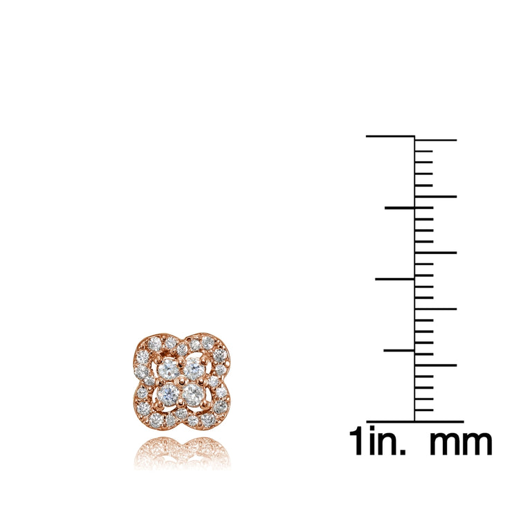 Rose Gold Flashed Sterling Silver Cubic Zirconia Four Leaf Clover Stud Earrings