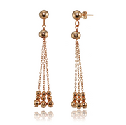 Polished Beads Dangling Chain Drop Earrings