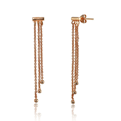 Rose Gold Flashed Sterling Silver Dainty Beads Chain Drop Dangle Earrings