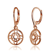 Rose Gold Flashed Sterling Silver Round Filigree Flower Dangle Leaverback Earrings