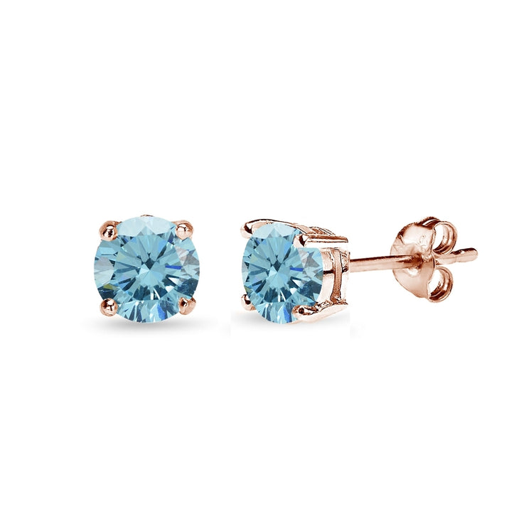 Rose Gold Flashed Sterling Silver 5mm Light Blue Stud Earrings created with Swarovski Crystals