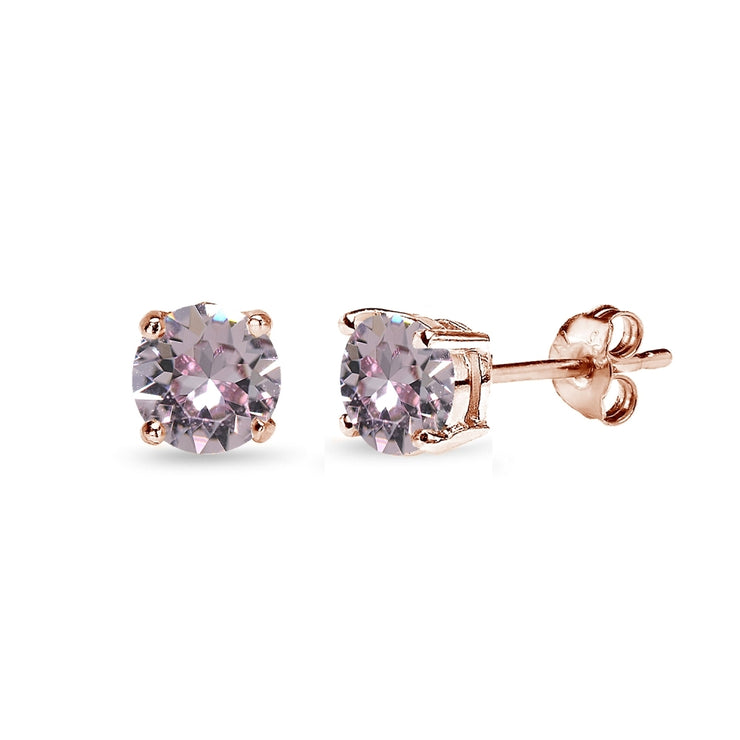 Rose Gold Flashed Sterling Silver 5mm Pink Stud Earrings created with Swarovski Crystals
