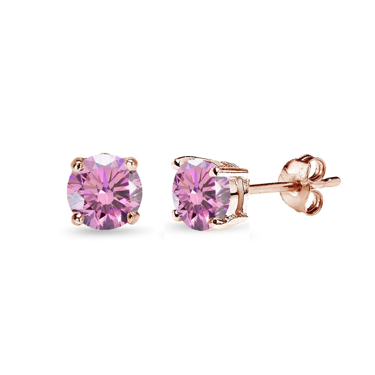 Rose Gold Flashed Sterling Silver 5mm Light Rose Stud Earrings created with Swarovski Crystals