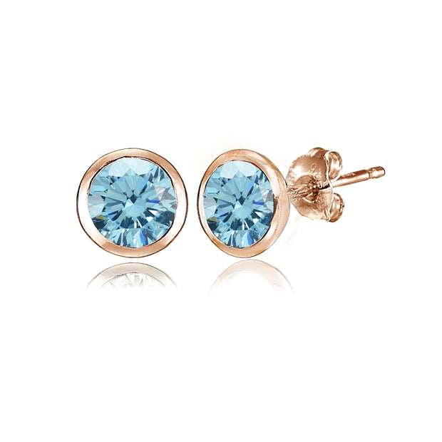 Rose Gold Flashed Sterling Silver 5mm Bezel-set Martini Light Blue Stud Earrings created with Swarovski Crystals