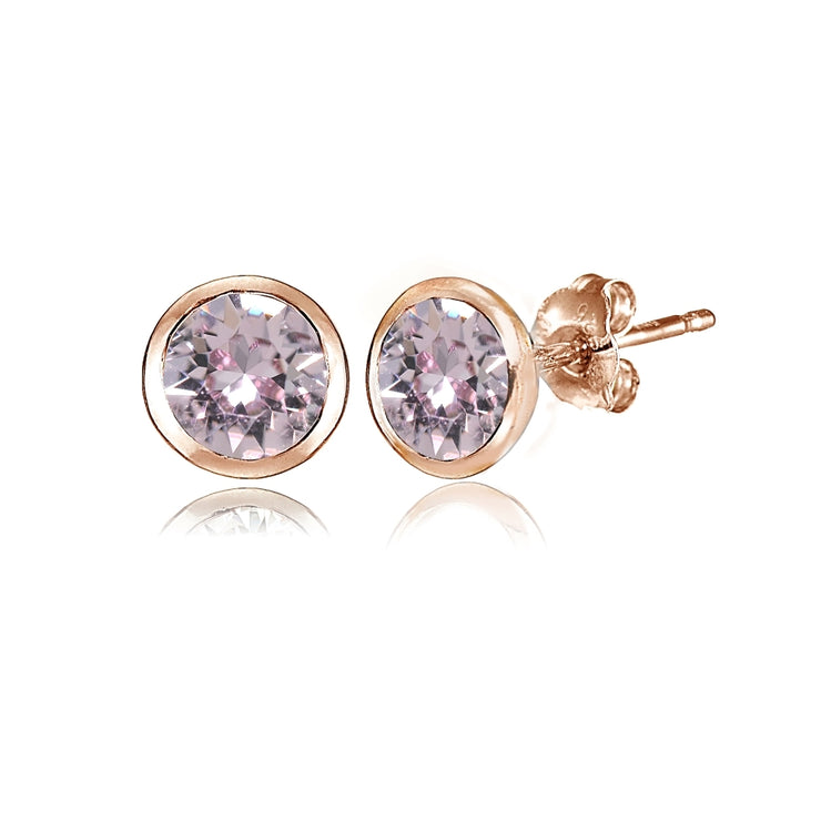 Rose Gold Flashed Sterling Silver 5mm Bezel-set Martini Pink Stud Earrings created with Swarovski Crystals
