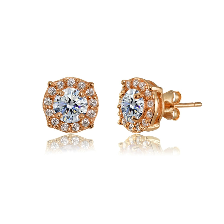 Rose Gold Flashed Sterling Silver 5mm Round Clear Halo Stud Earrings created with Swarovski Crystals