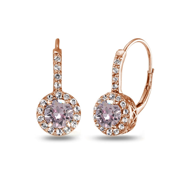 Rose Gold Flashed Sterling Silver Pink Halo Leverback Drop Earrings created with Swarovski Crystals