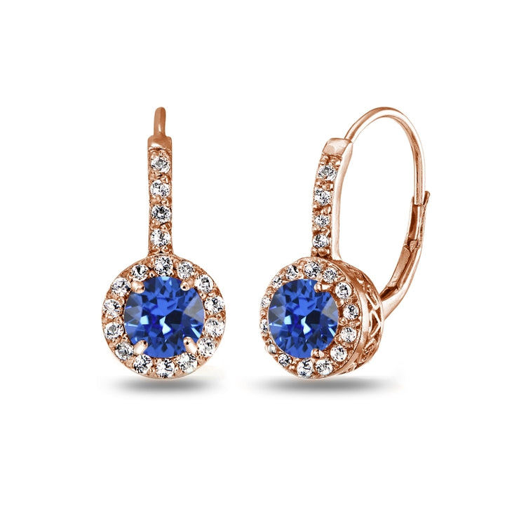 Rose Gold Flashed Sterling Silver Blue Halo Leverback Drop Earrings created with Swarovski Crystals