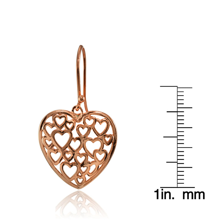 Rose Gold Flashed Sterling Silver Open Heart Filigree Dangle Earrings