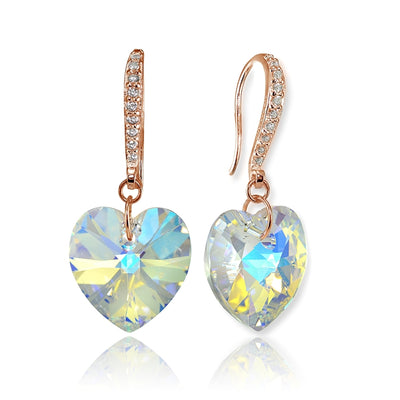 Rose Gold Flashed Sterling Silver Aurora Borealis Heart Dangle Earrings Created with Swarovski Crystals