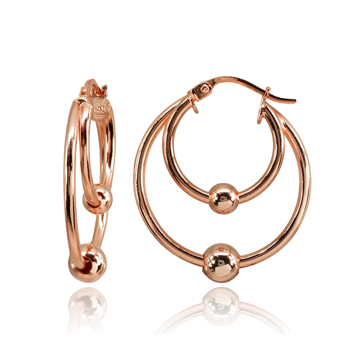 Rose Gold Flashed Sterling Silver High Polished Double Hoop with Bead Earrings