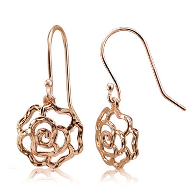 Rose Gold Flashed Sterling Silver High Polished Diamond-cut Filigree Rose Flower Dangle Earrings