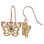 Rose Gold Flashed Sterling Silver High Polished Diamond-cut Filigree Butterfly Dangle Earrings
