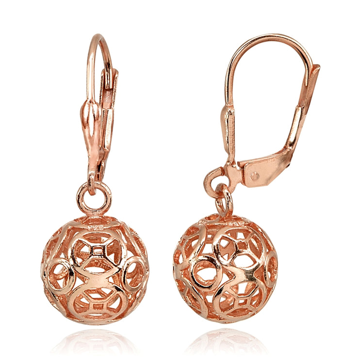 Rose Gold Flashed Sterling Silver Polished Filigree Hollow Ball Dangle Leverback Earrings