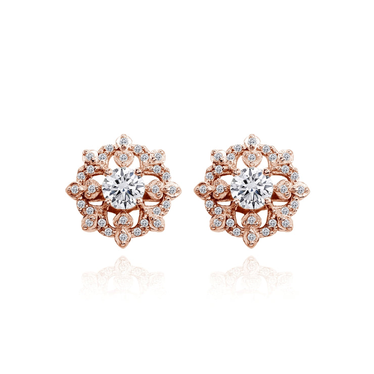 Rose Gold Flashed Sterling Silver Cubic Zirconia Round Snowflake Stud Earrings