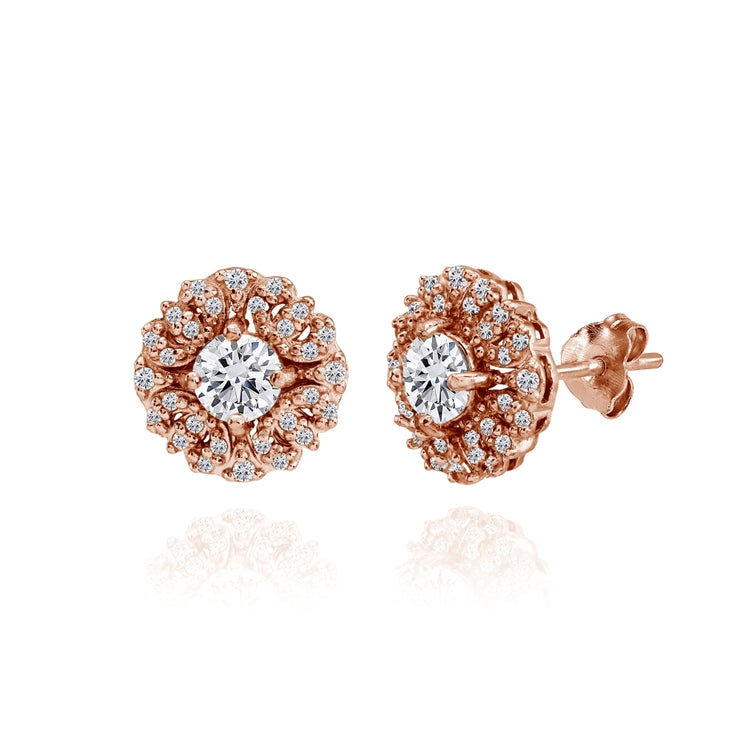Rose Gold Flashed Sterling Silver Cubic Zirconia Round Flower Cluster Stud Earrings