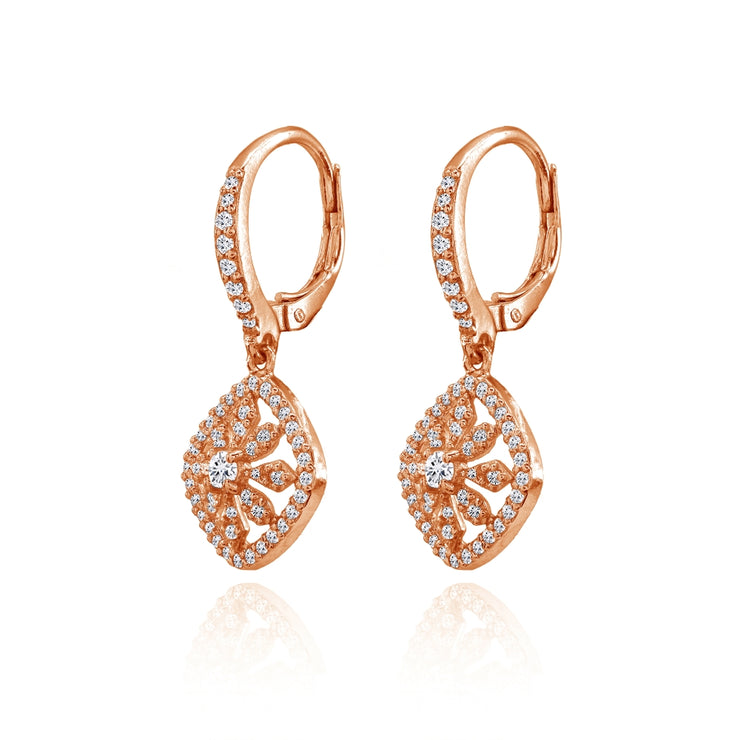 Rose Gold Flashed Sterling Silver Cubic Zirconia Flower Cushion-Shape Dangle Leverback Earrings