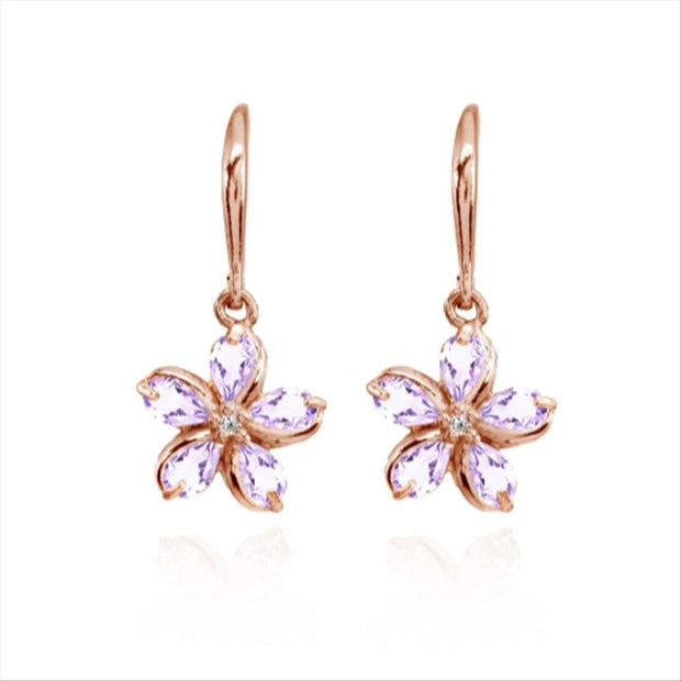 Rose Gold Flashed Sterling Silver Amethyst Polished Flower Dangle Leverback Earrings