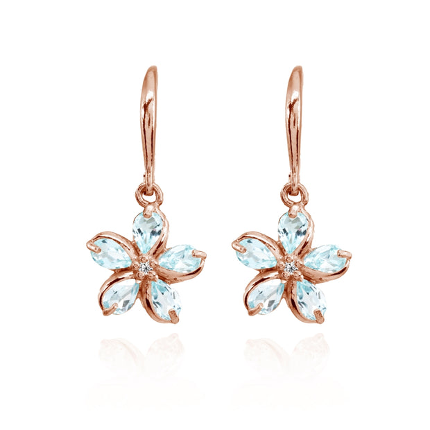 Rose Gold Flashed Sterling Silver Blue Topaz Polished Flower Dangle Leverback Earrings