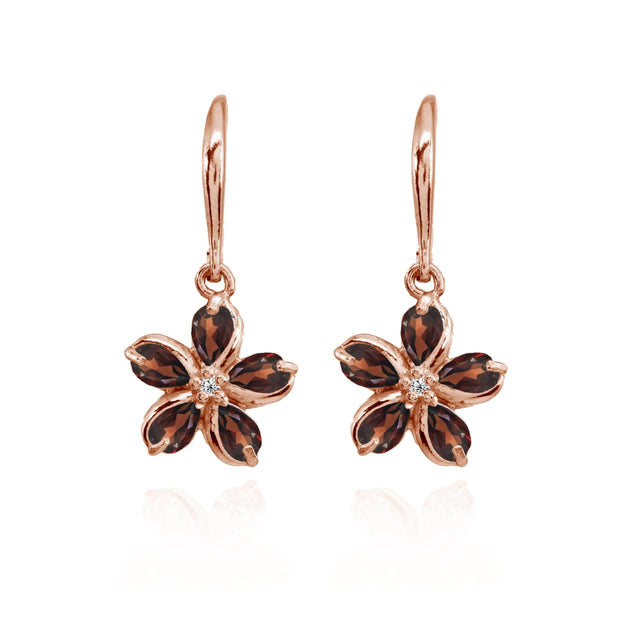 Rose Gold Flashed Sterling Silver Garnet Polished Flower Dangle Leverback Earrings