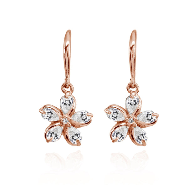 Rose Gold Flashed Sterling Silver Cubic Zirconia Polished Flower Dangle Leverback Earrings