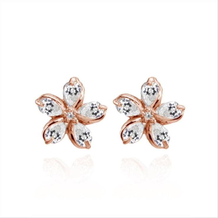 Rose Gold Flashed Sterling Silver Cubic Zirconia Polished Flower Stud Earrings