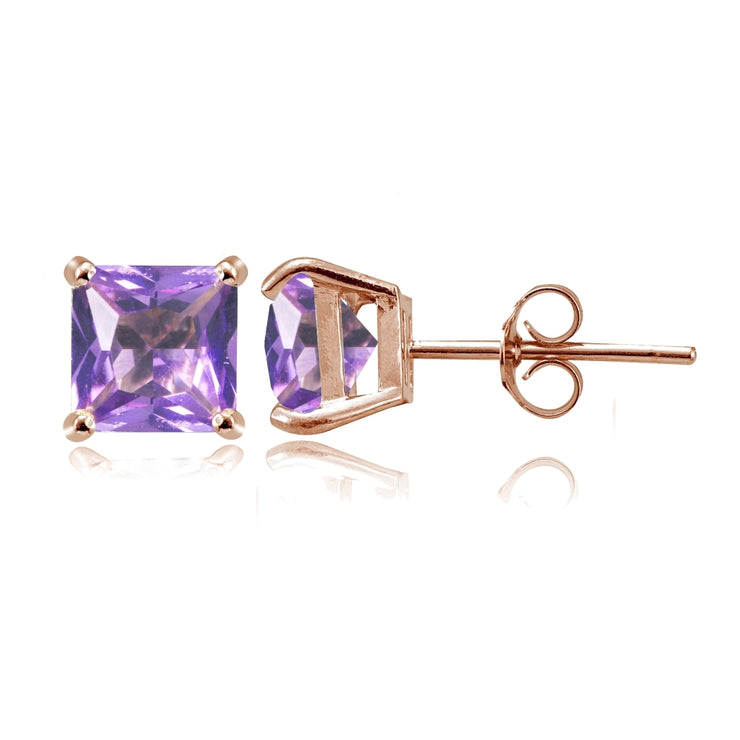Rose Gold Flashed Sterling Silver Created Amethyst 6mm Princess-cut Stud Earrings