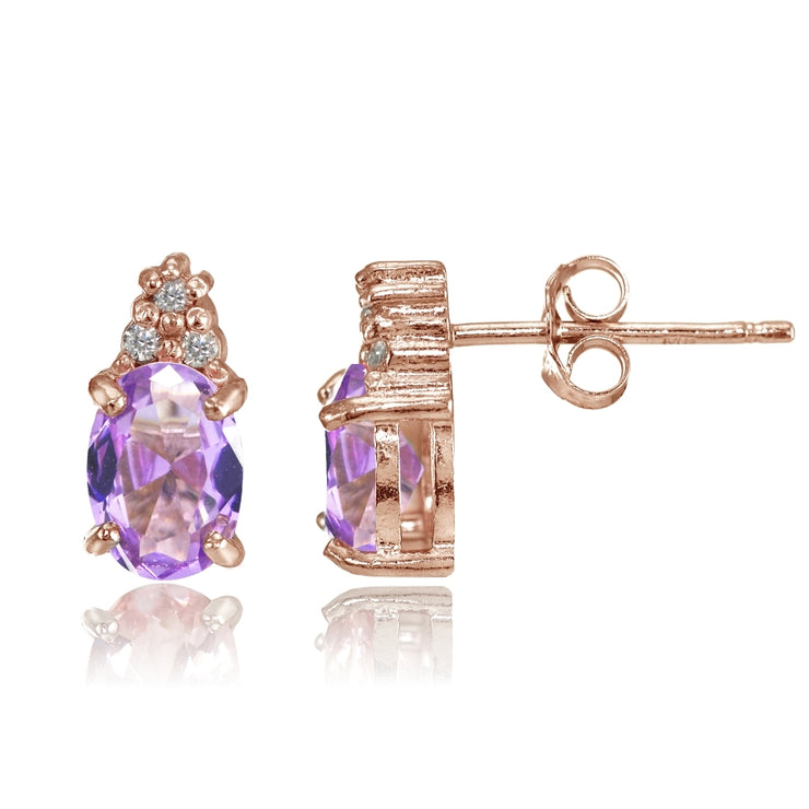 Rose Gold Flashed Sterling Silver Created Amethyst and CZ Accent Oval Stud Earrings