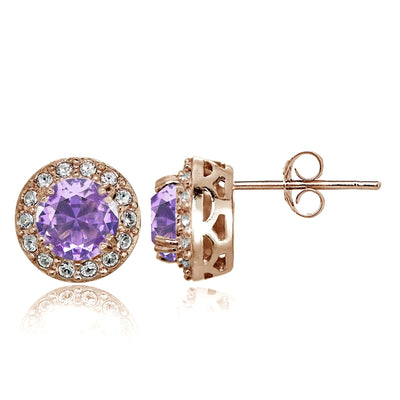 Rose Gold Flashed Sterling Silver Simulated Amethyst and CZ Accents Round Halo Stud Earrings