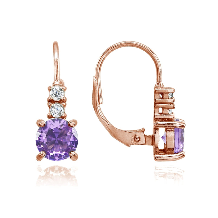 Rose Gold Flashed Sterling Silver Created Amethyst 6mm Round and CZ Accents Leverback Earrings
