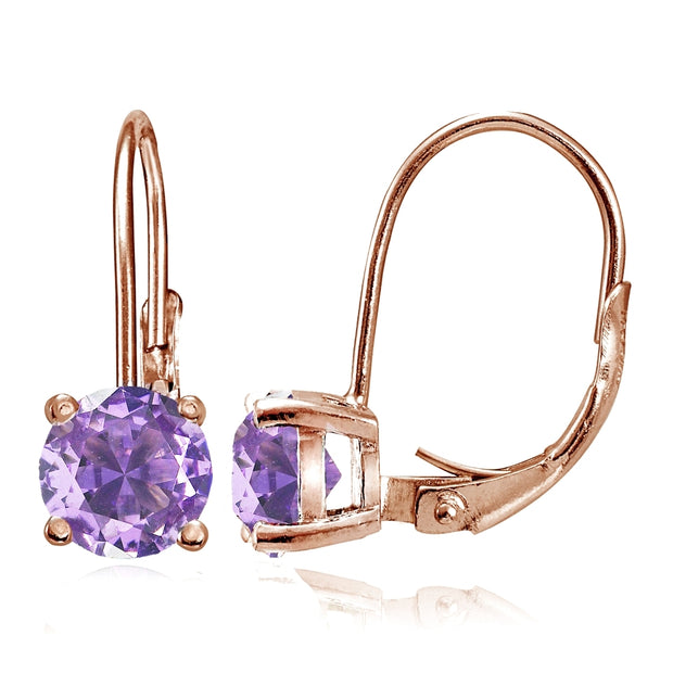 Rose Gold Flashed Sterling Silver Simulated Amethyst 6mm Round Leverback Earrings