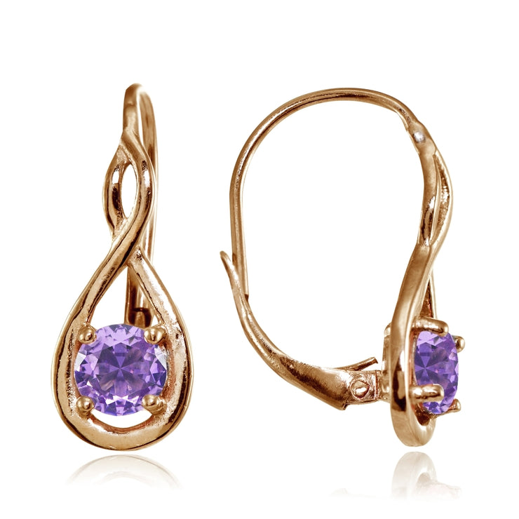 Rose Gold Flashed Sterling Silver Created Amethyst 5mm Round Infinity Leverback Earrings