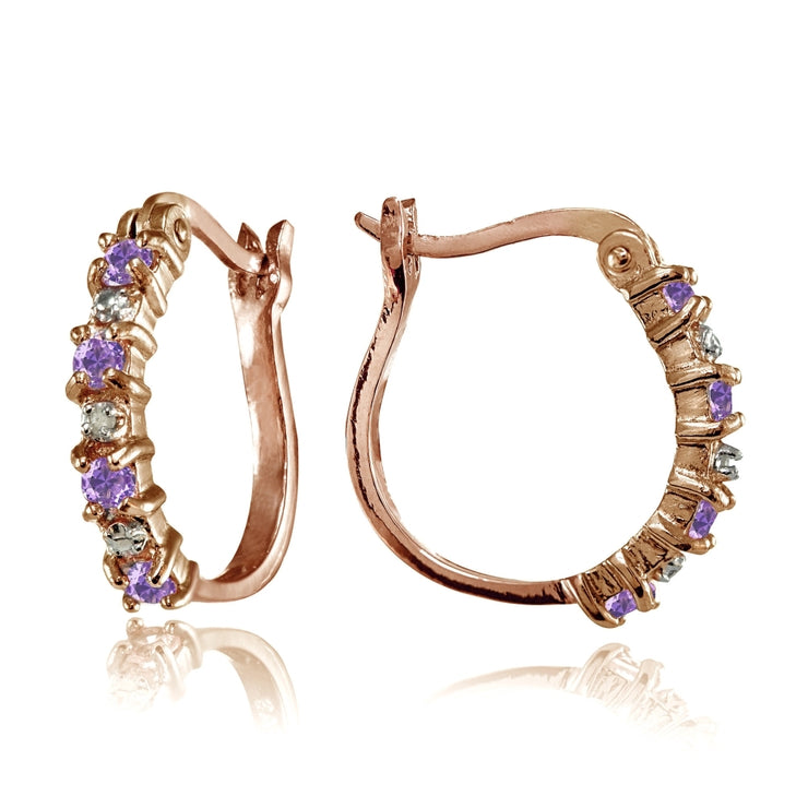 Rose Gold Flashed Sterling Silver Polished Created Amethyst Round Hoop Earrings