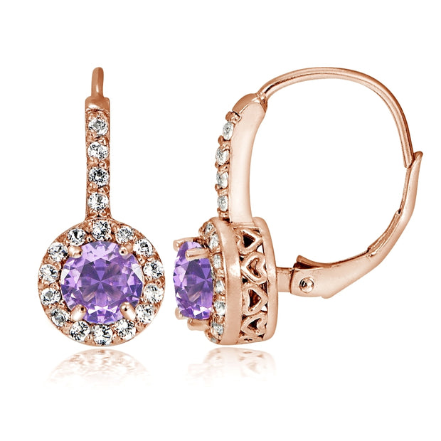 Rose Gold Flashed Sterling Silver Created Amethyst 5mm Round and CZ Accents Leverback Earrings