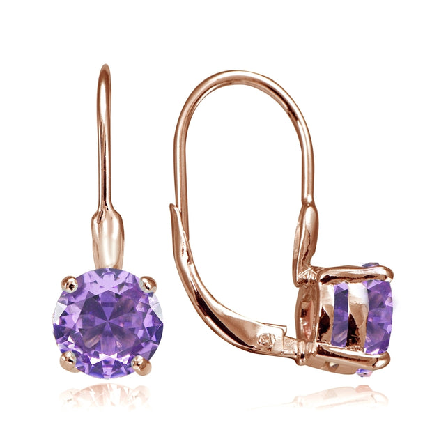 Rose Gold Flashed Sterling Silver Created Amethyst 7mm Round Solitaire Leverback Earrings