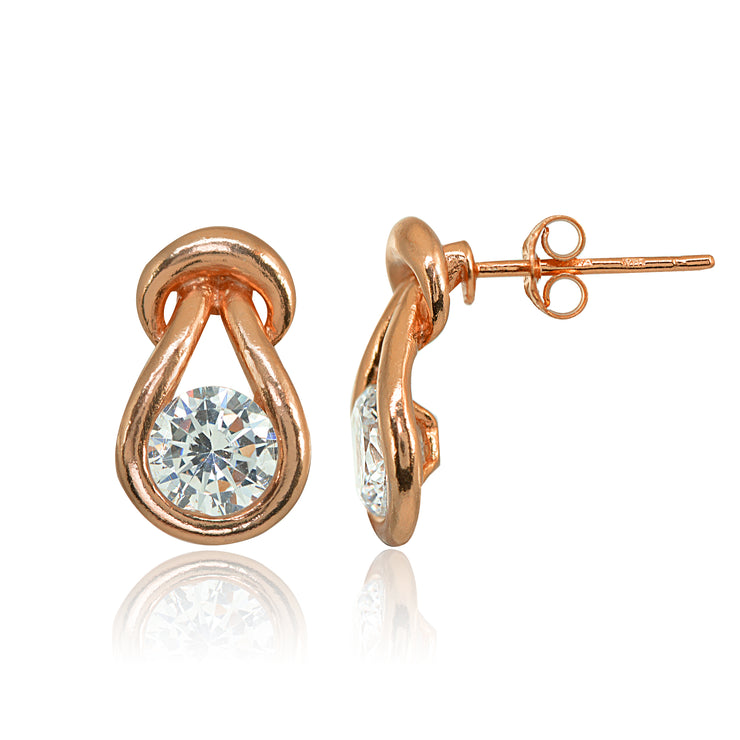 Rose Gold Flashed Sterling Silver Cubic Zirconia Round Polished Knot Stud Earrings