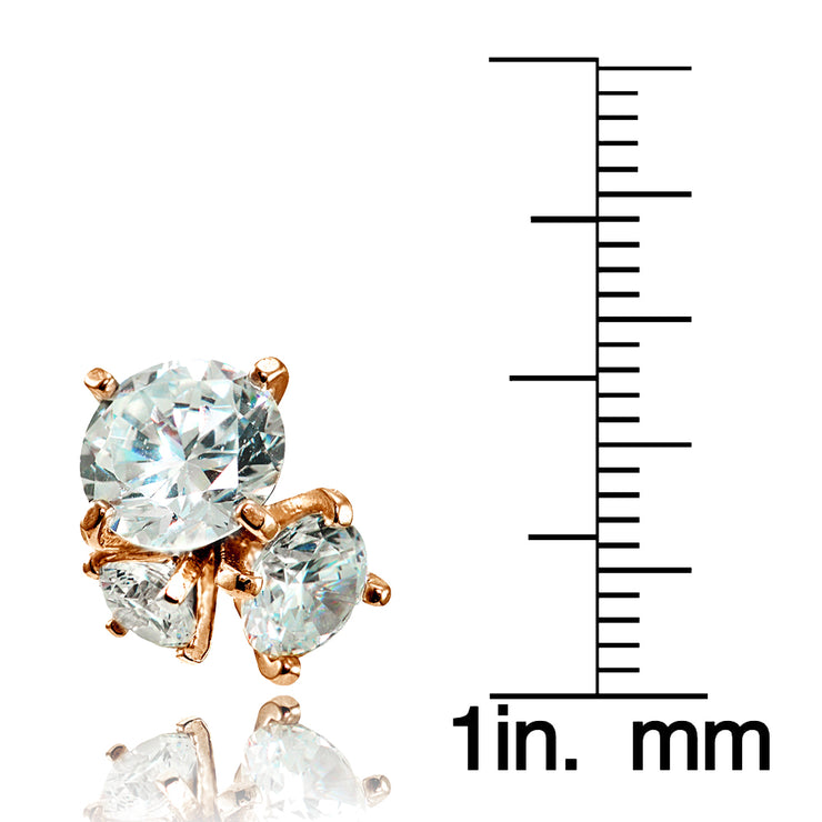 Rose Gold Flashed Sterling Silver Cubic Zirconia Round Cluster Graduated Three Stone Stud Earrings