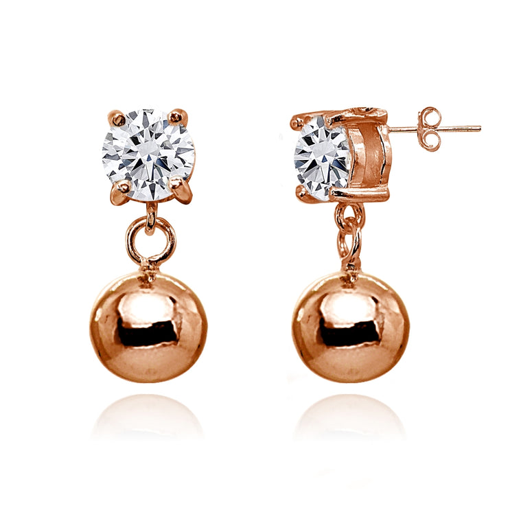 Rose Gold Flashed Sterling Silver Cubic Zirconia 4mm Dangling Round Bead Stud Earrings