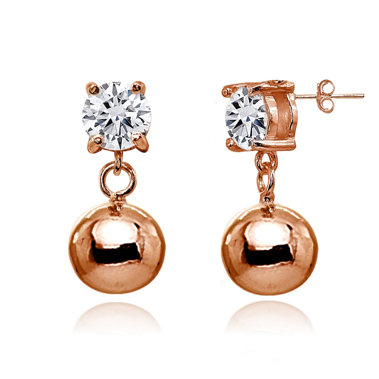 Rose Gold Flashed Sterling Silver Cubic Zirconia 5mm Dangling Round Bead Stud Earrings