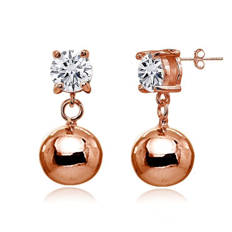Rose Gold Flashed Sterling Silver Cubic Zirconia 6mm Dangling Round Bead Stud Earrings