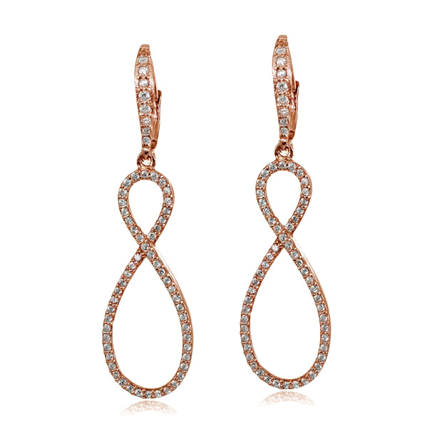 Rose Gold Flashed Sterling Silver Cubic Zirconia Infinity Long Dangle Leverback Earrings
