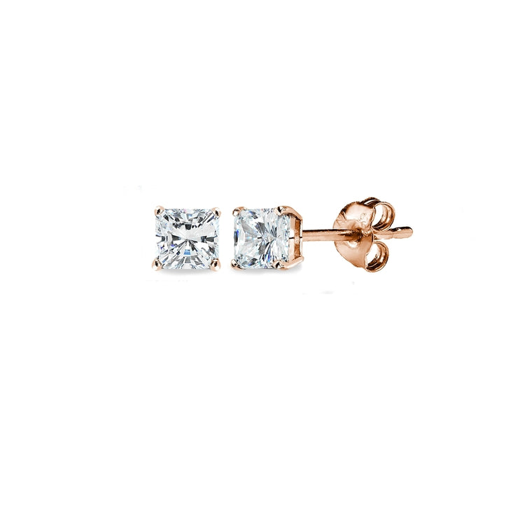 Rose Gold Flash Sterling Silver AAA Cubic Zirconia 3x3mm Princess-Cut Square Stud Earrings