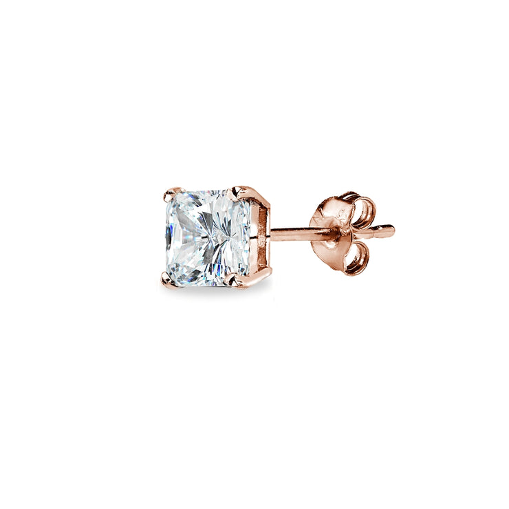 Rose Gold Flash Sterling Silver AAA Cubic Zirconia 5x5mm Princess-Cut Square Stud Earrings