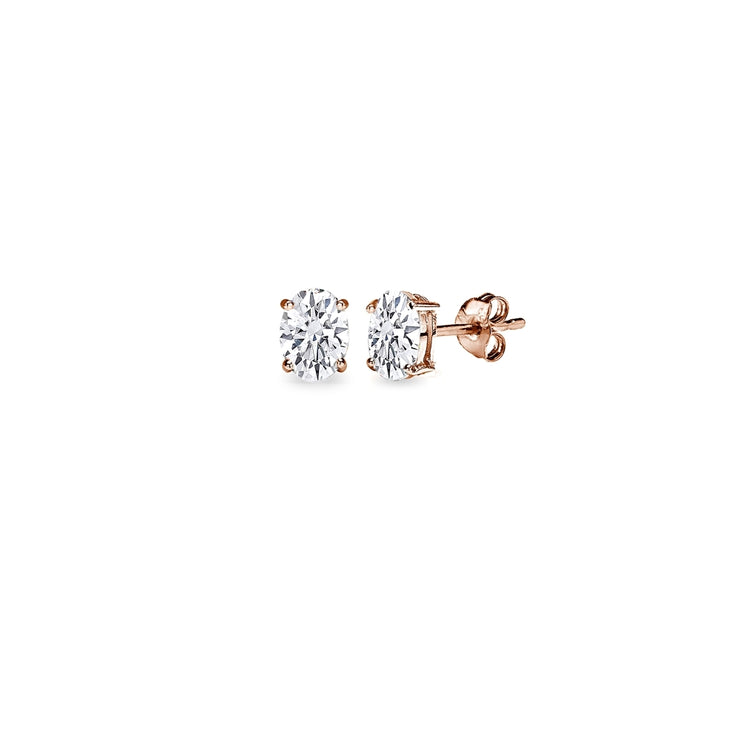 Rose Gold Flash Sterling Silver AAA Cubic Zirconia 5x3mm Oval-Cut Stud Earrings