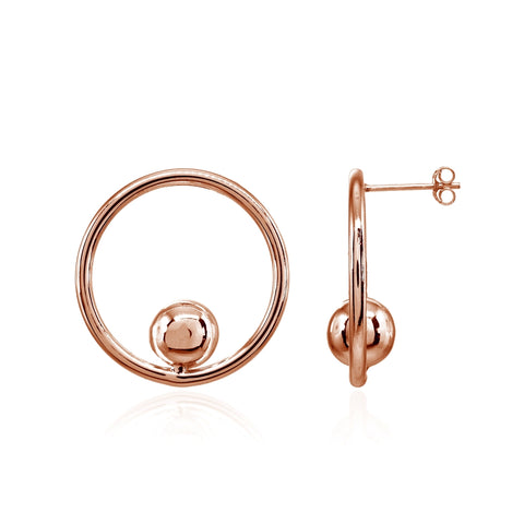 Rose Gold Flashed Sterling Silver Polished Open Circle Beaded Frontal Hoop Drop Earrings
