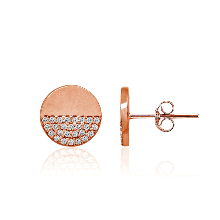 Rose Gold Flashed Sterling Silver Polished Round Disk Cubic Zirconia Dainty Stud Earrings