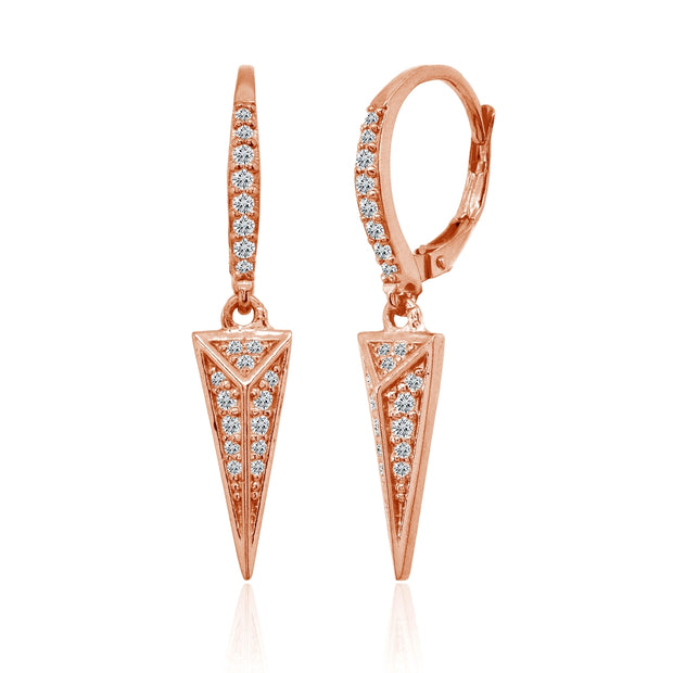 Rose Gold Flashed Sterling Silver Polished Triangle Cubic Zirconia Drop Dangle Leverback Earrings