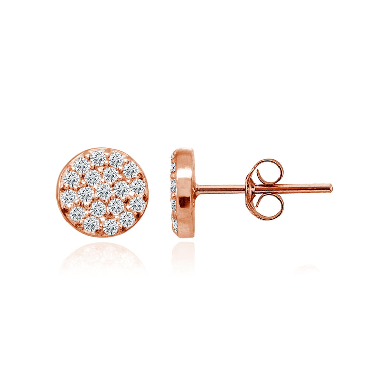 Rose Gold Flashed Sterling Silver Cubic Zirconia Round Polished Disc 8mm Small Button Stud Earrings