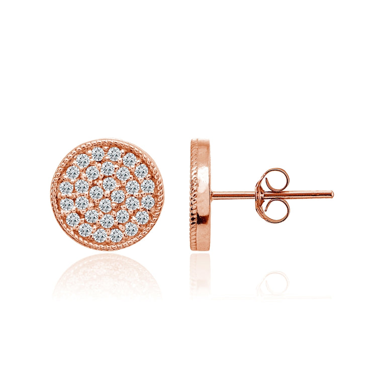 Rose Gold Flashed Sterling Silver Cubic Zirconia Round Polished Disc 11mm Small Button Stud Earrings